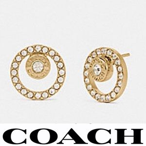 COACH  Gold Tone Open Circle Pave Stone Earrings